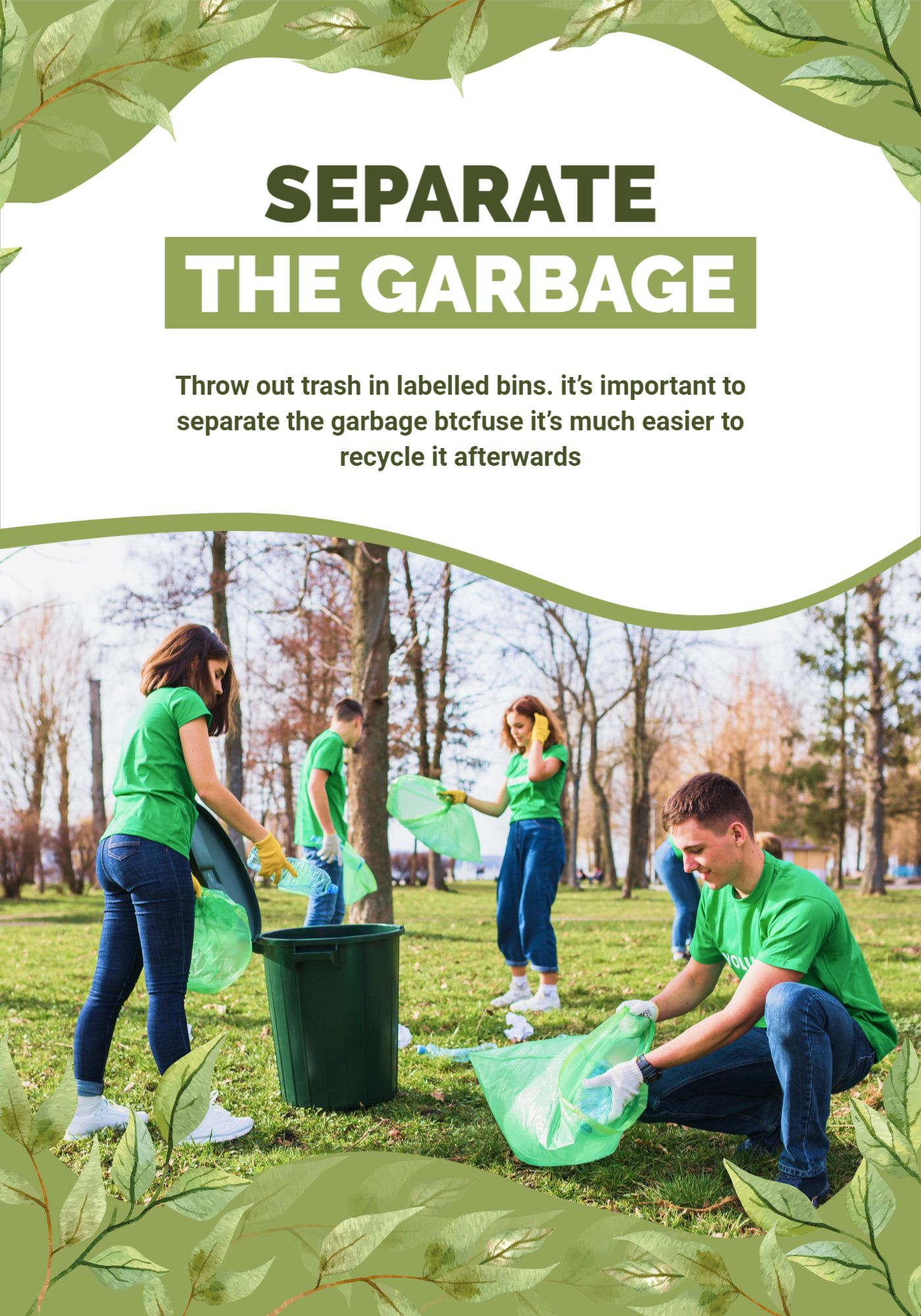Separate The Garbage Poster Template