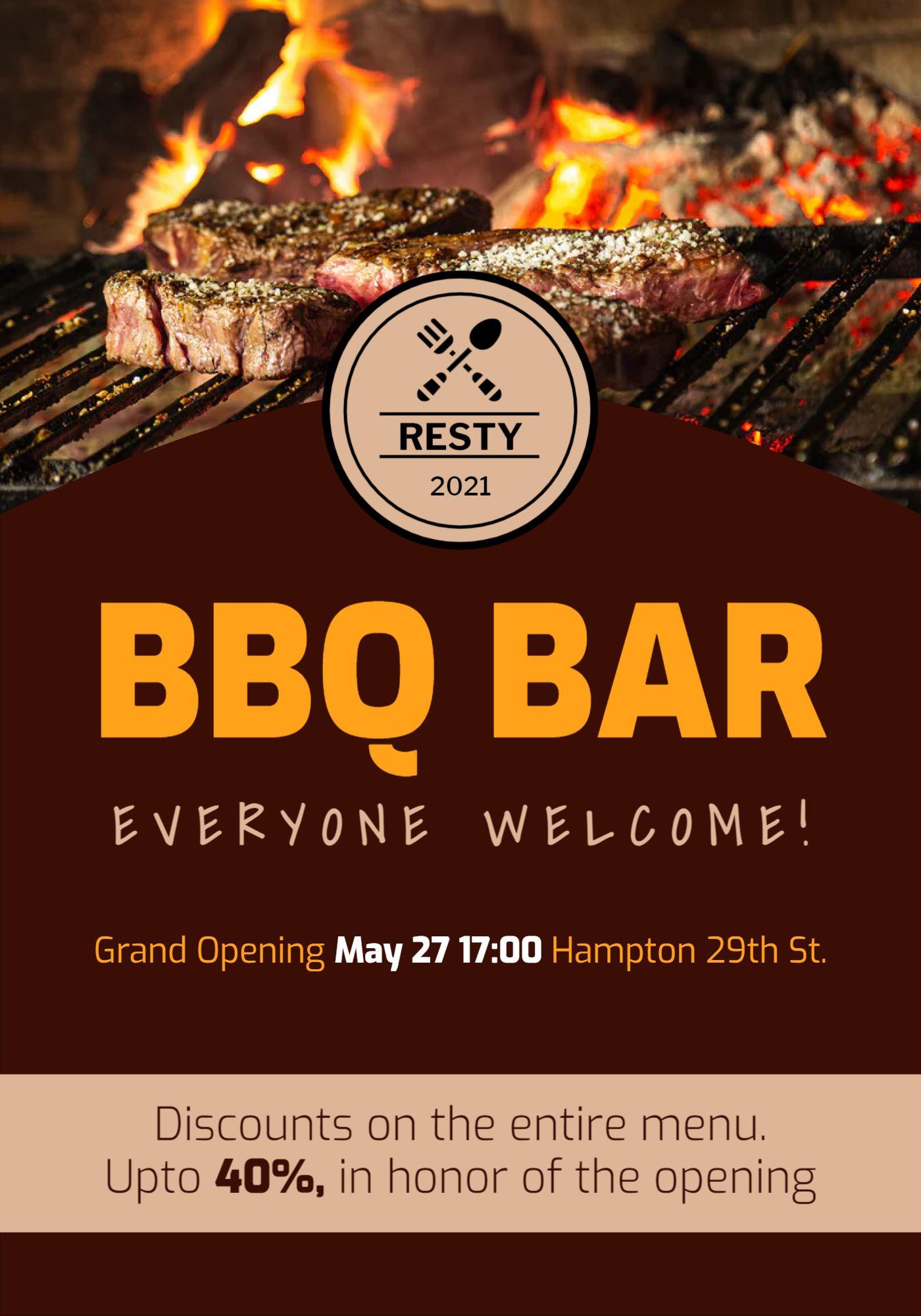 BBQ Bar Flyer Template