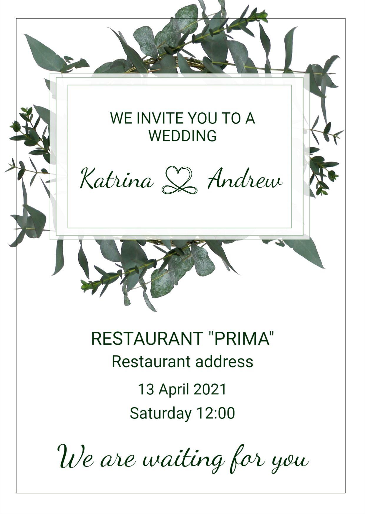 Minimal Design Wedding Invitation Template