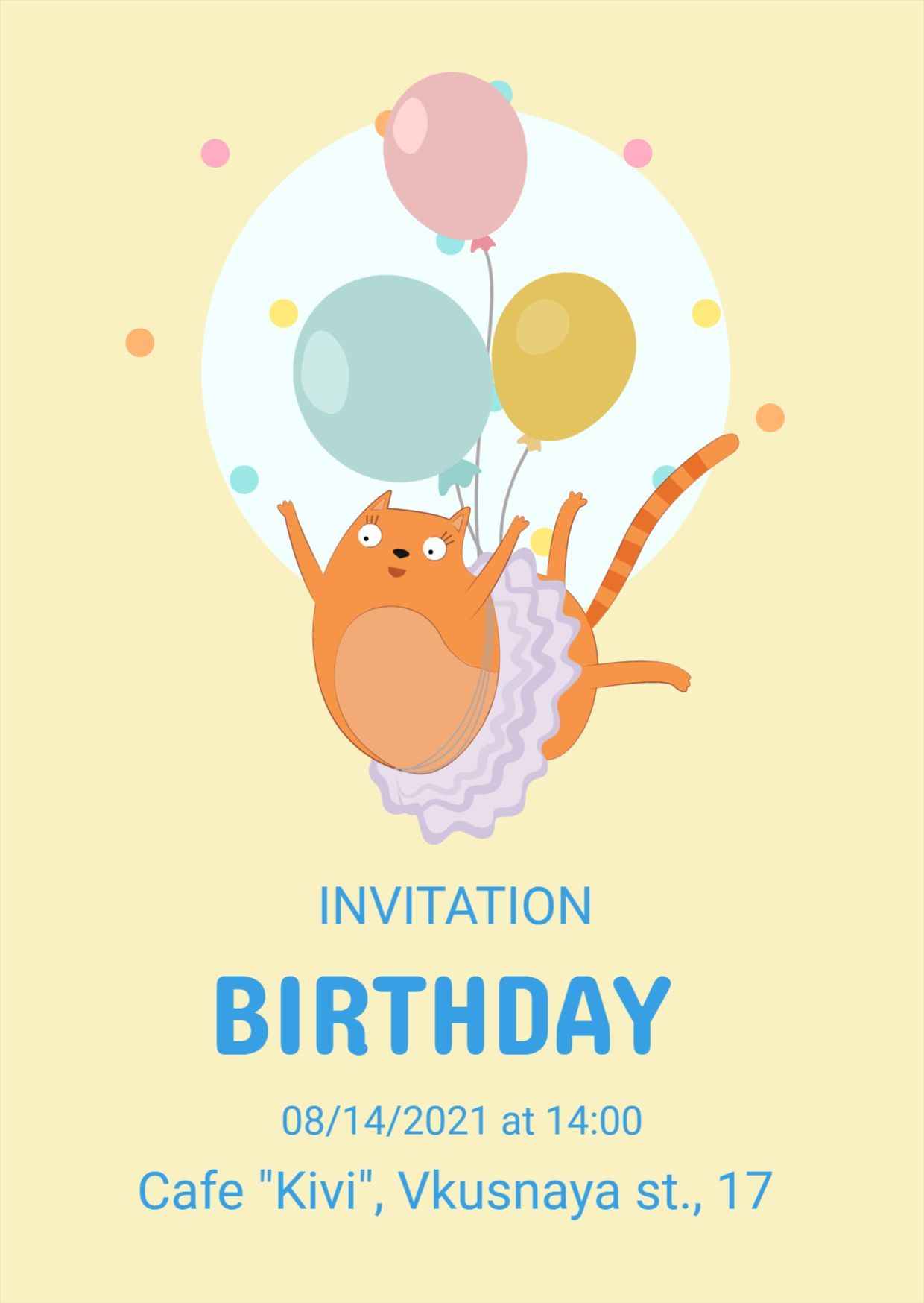 Birthday Invitation Template with Cat
