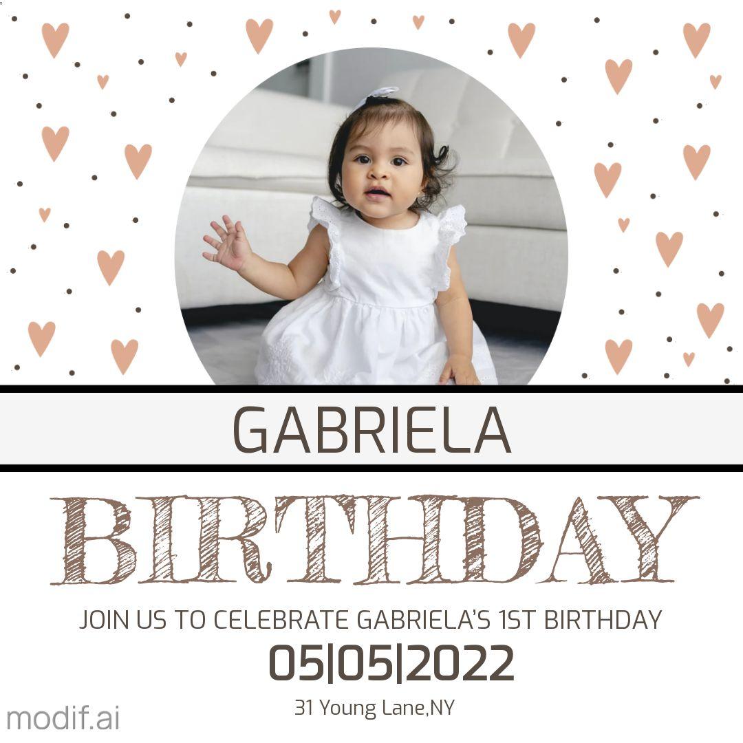 First Baby Birthday Invitation Template