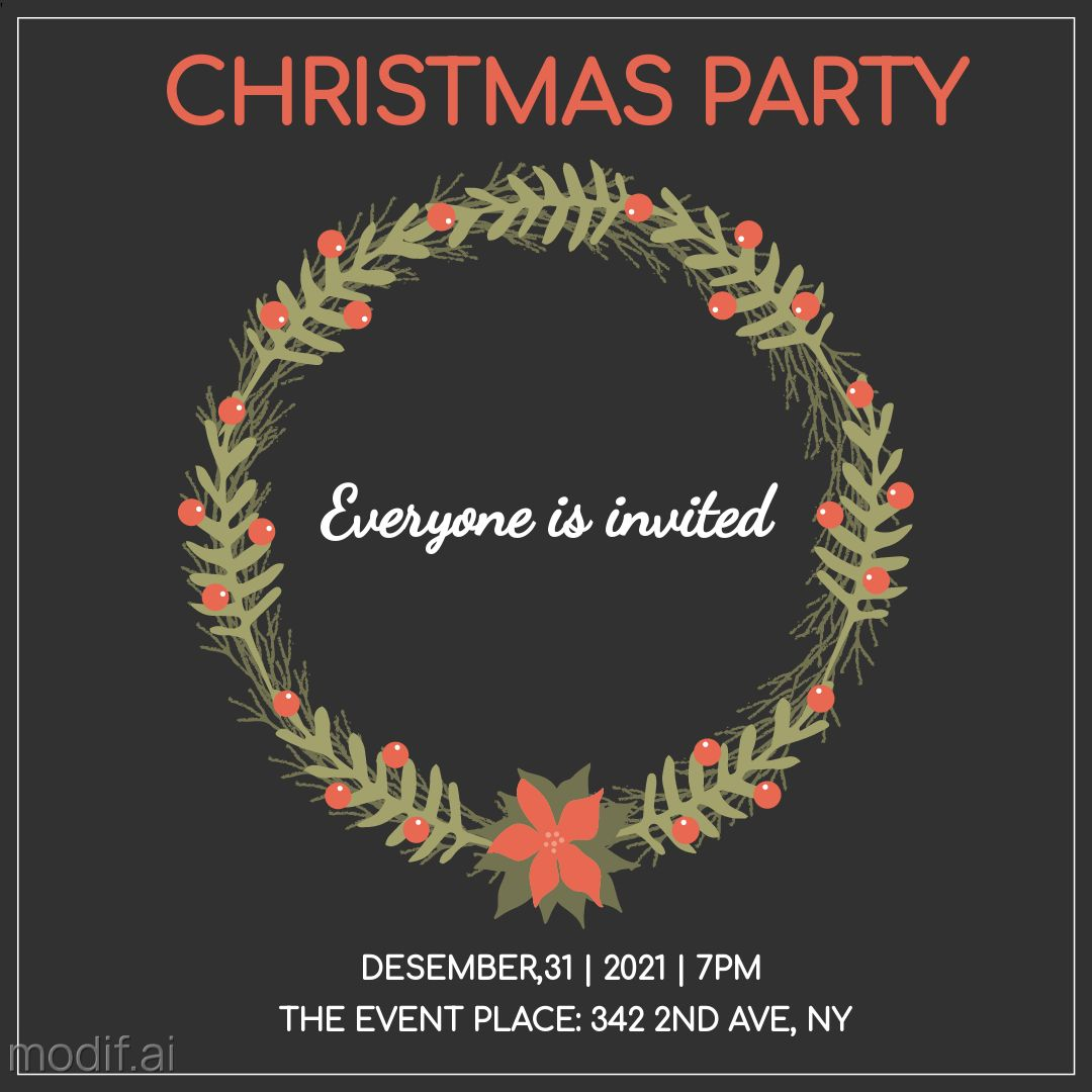 Instagram Post Christmas Party Invitation Template