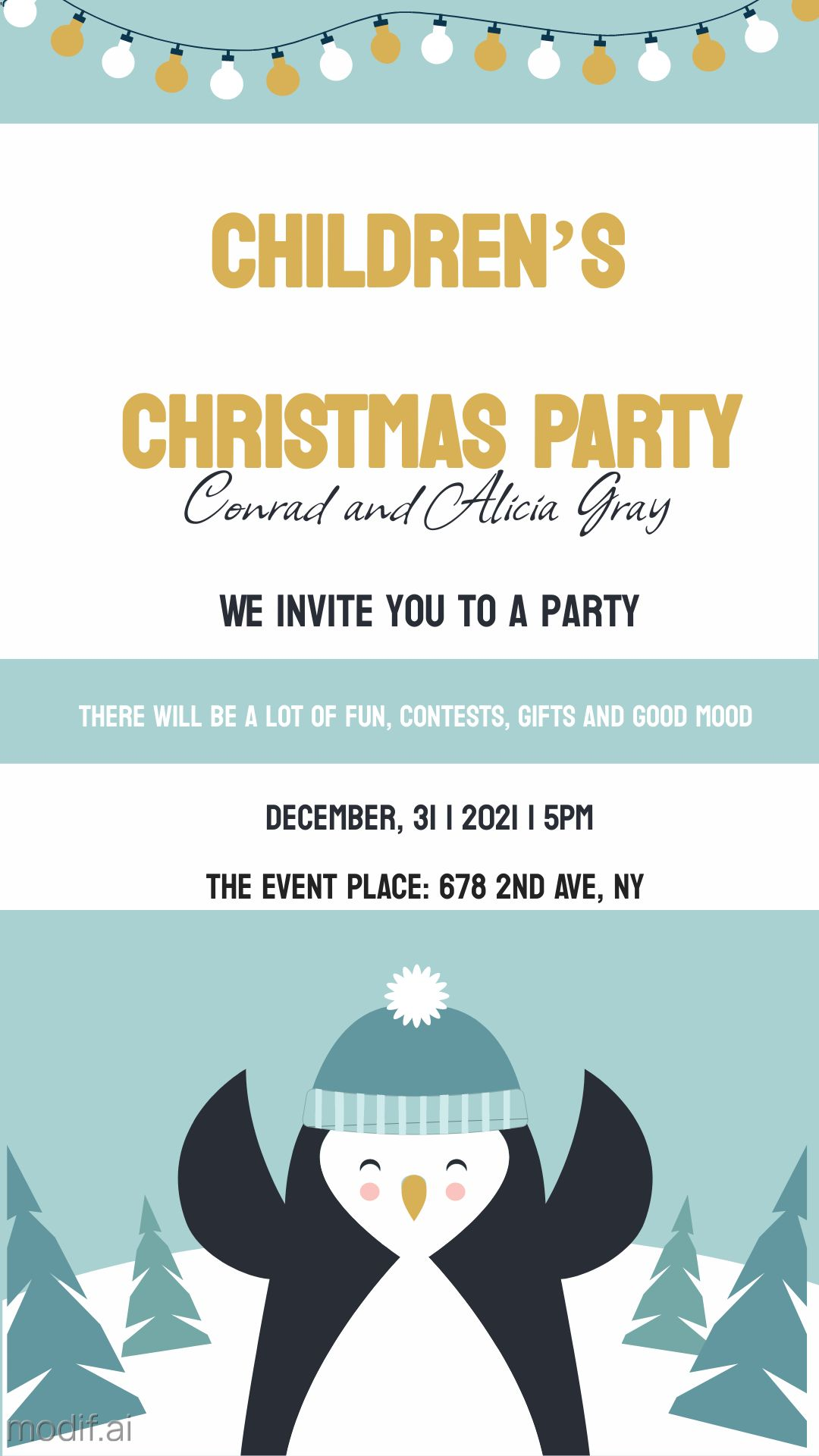 Children Christmas Party Invitation Template