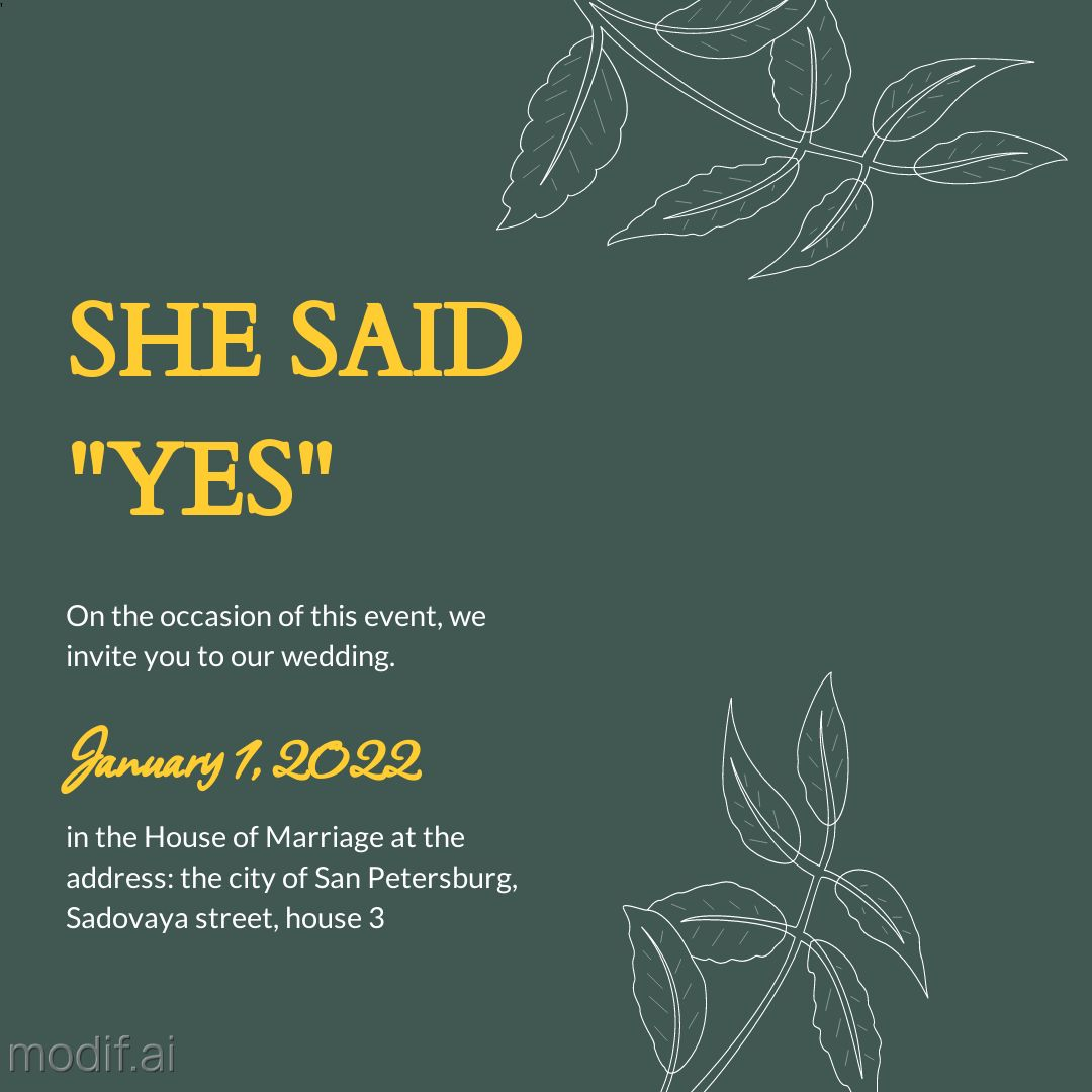 She Said YES Wedding Invitation