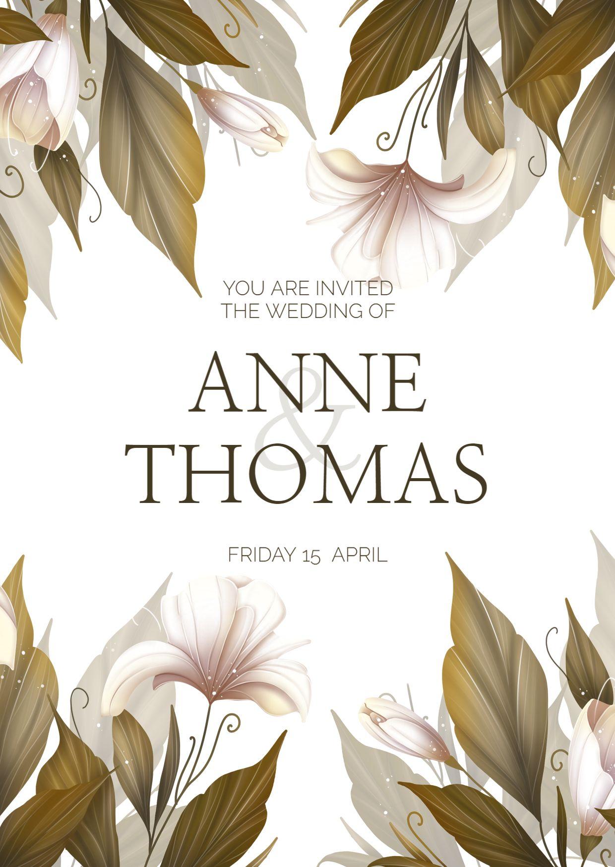 Flower Themed Wedding Invitation Template