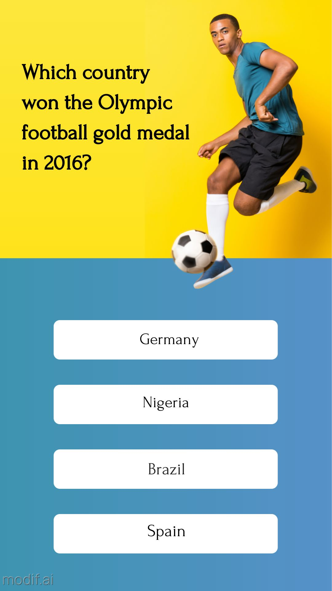 Olympic Football Quiz Instagram Story Template