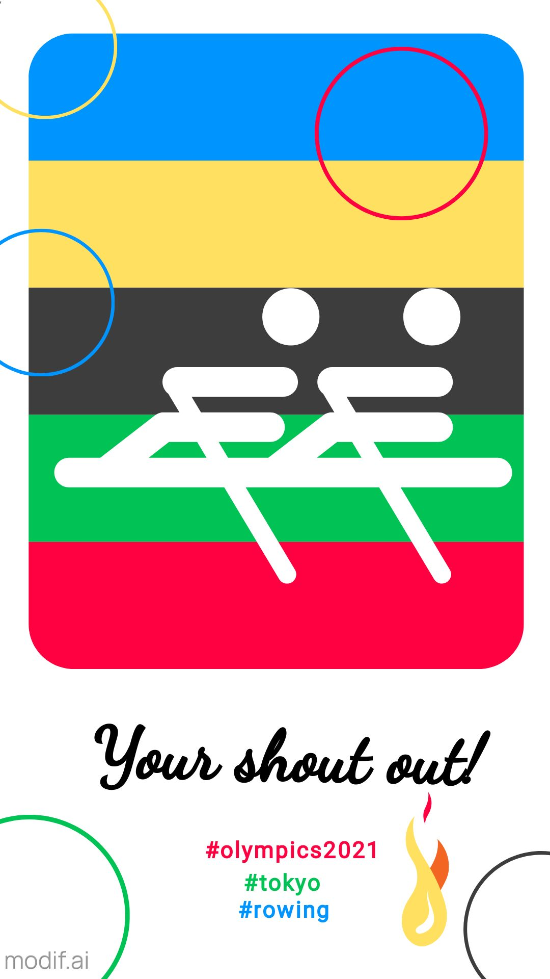 Rowing Pictogram Olympic Instagram Story Post Template