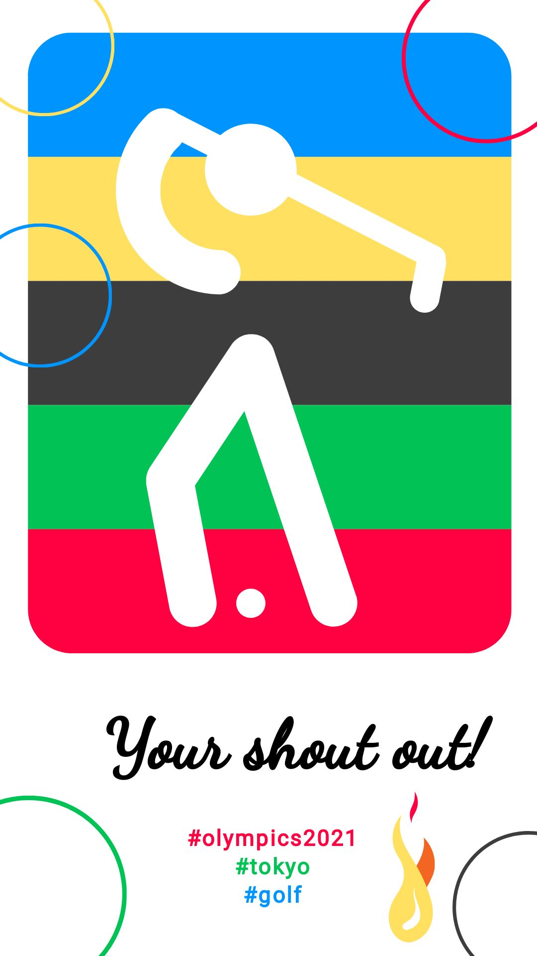 Golf Pictogram Olympic Instagram Story Post Template