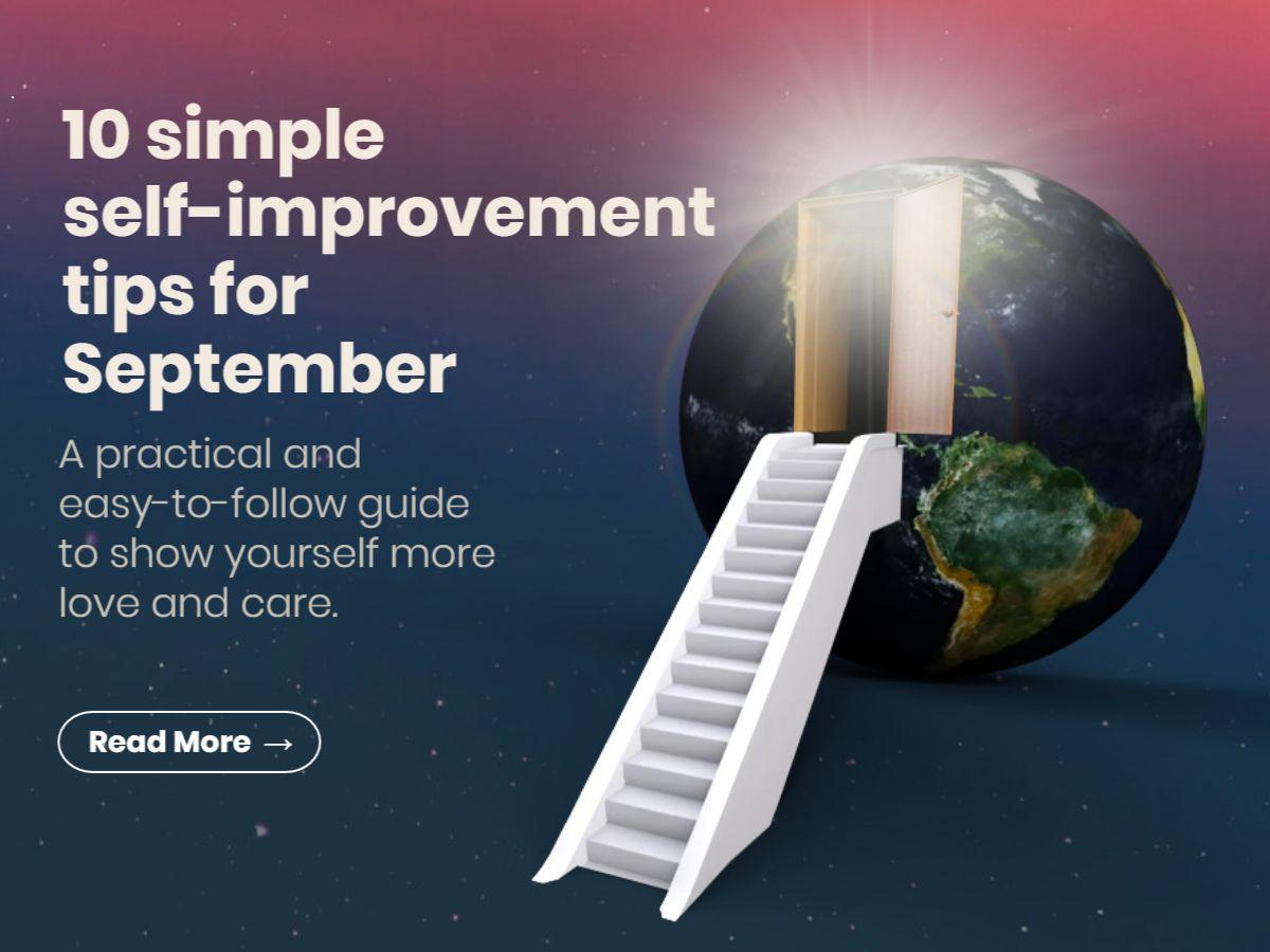 Self-Improvement Month Motivational Tips Facebook Post Template