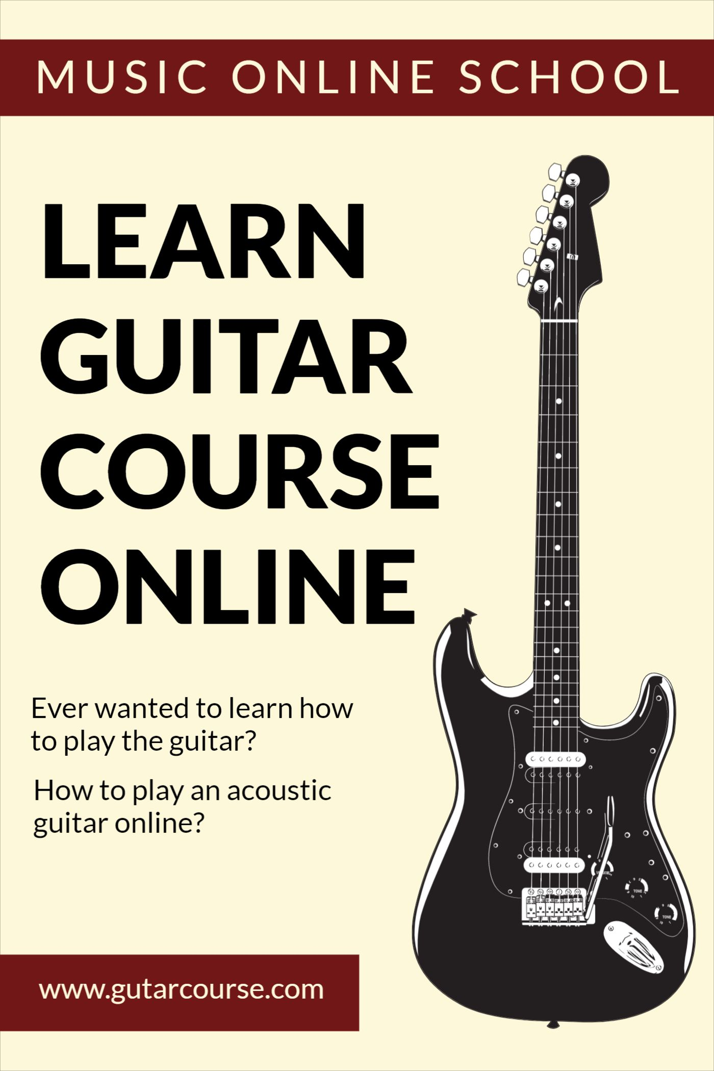 Guitar Course Online Cover Template