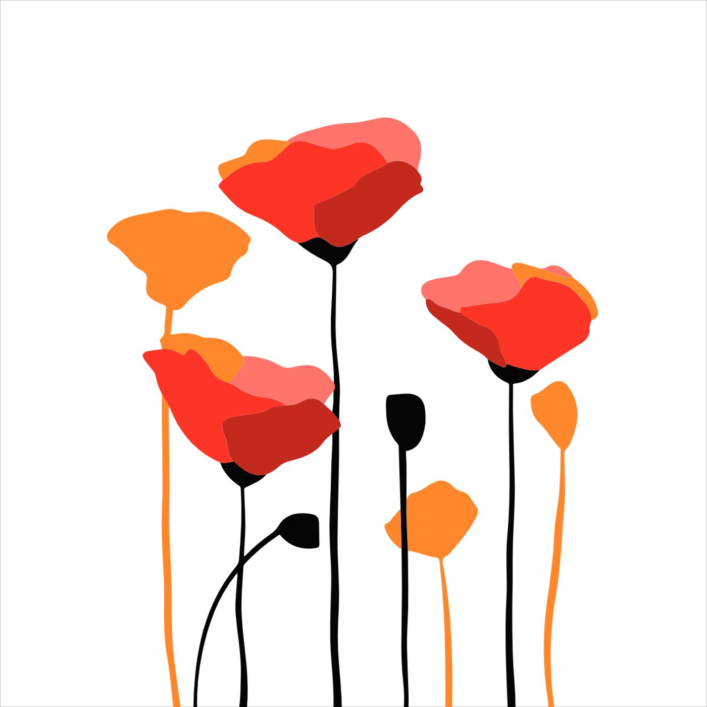 Poppy flower Pillow Case Template