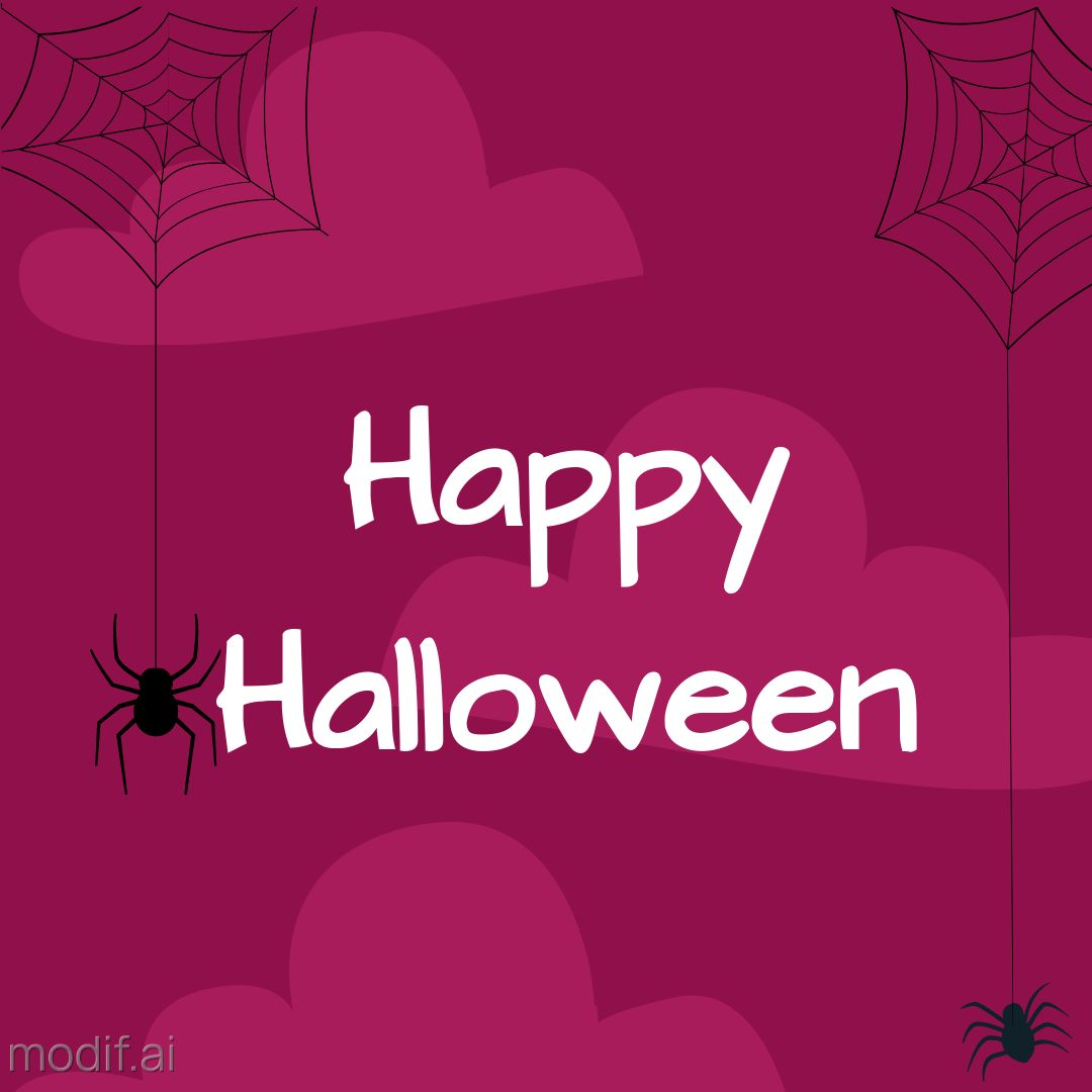 Halloween Holiday Wishes Template with Spiders