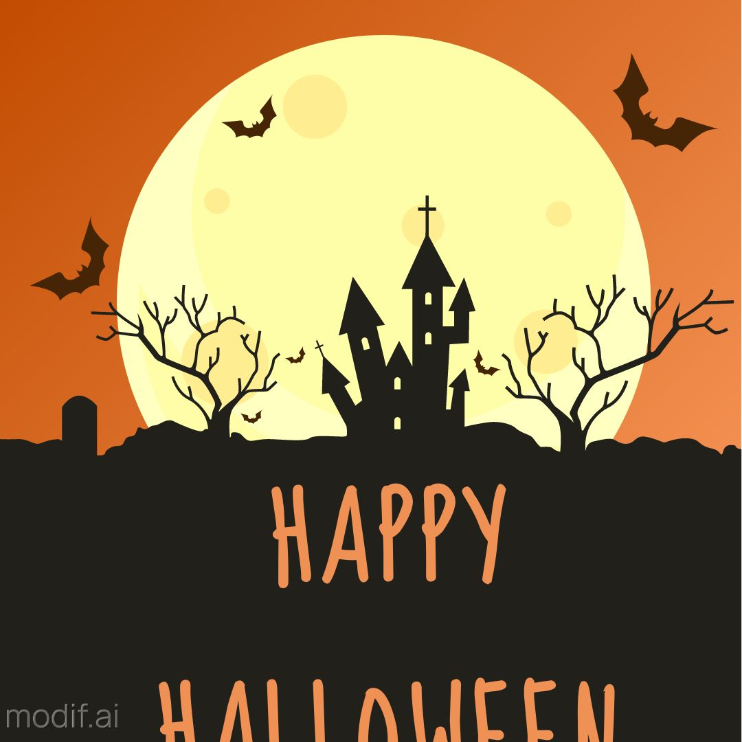 Halloween Holiday Wishes Template with Full Moon Illustration