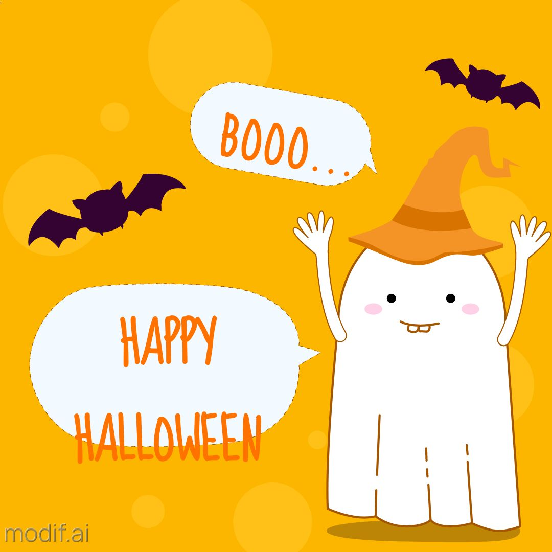 Halloween Holiday Wishes Template With Ghost