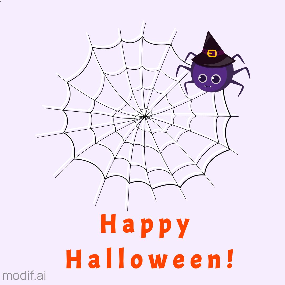 Halloween Greeting Template with Spider and Cobwebs