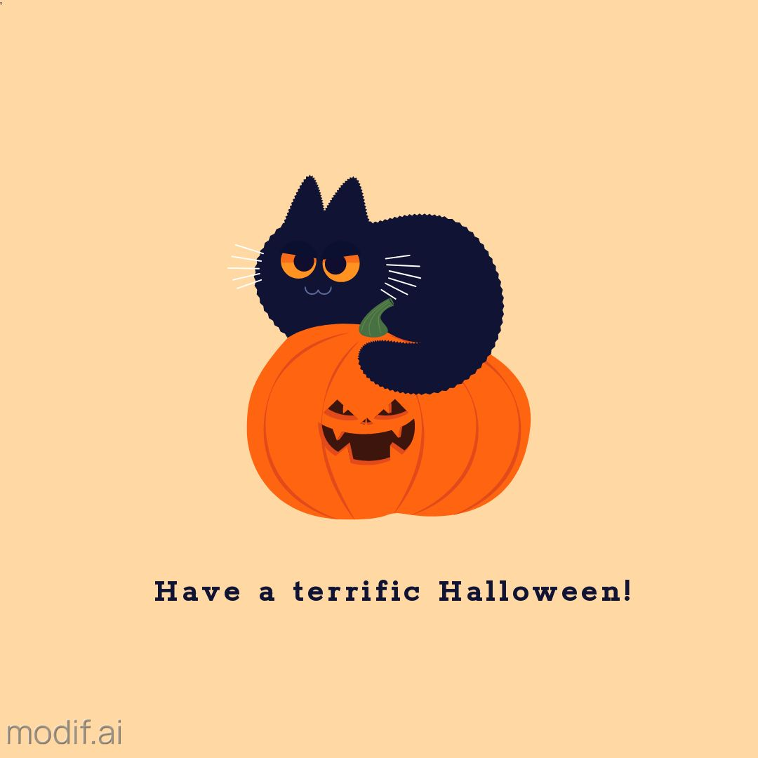 Halloween Greeting Template with Cat and Pumpkin