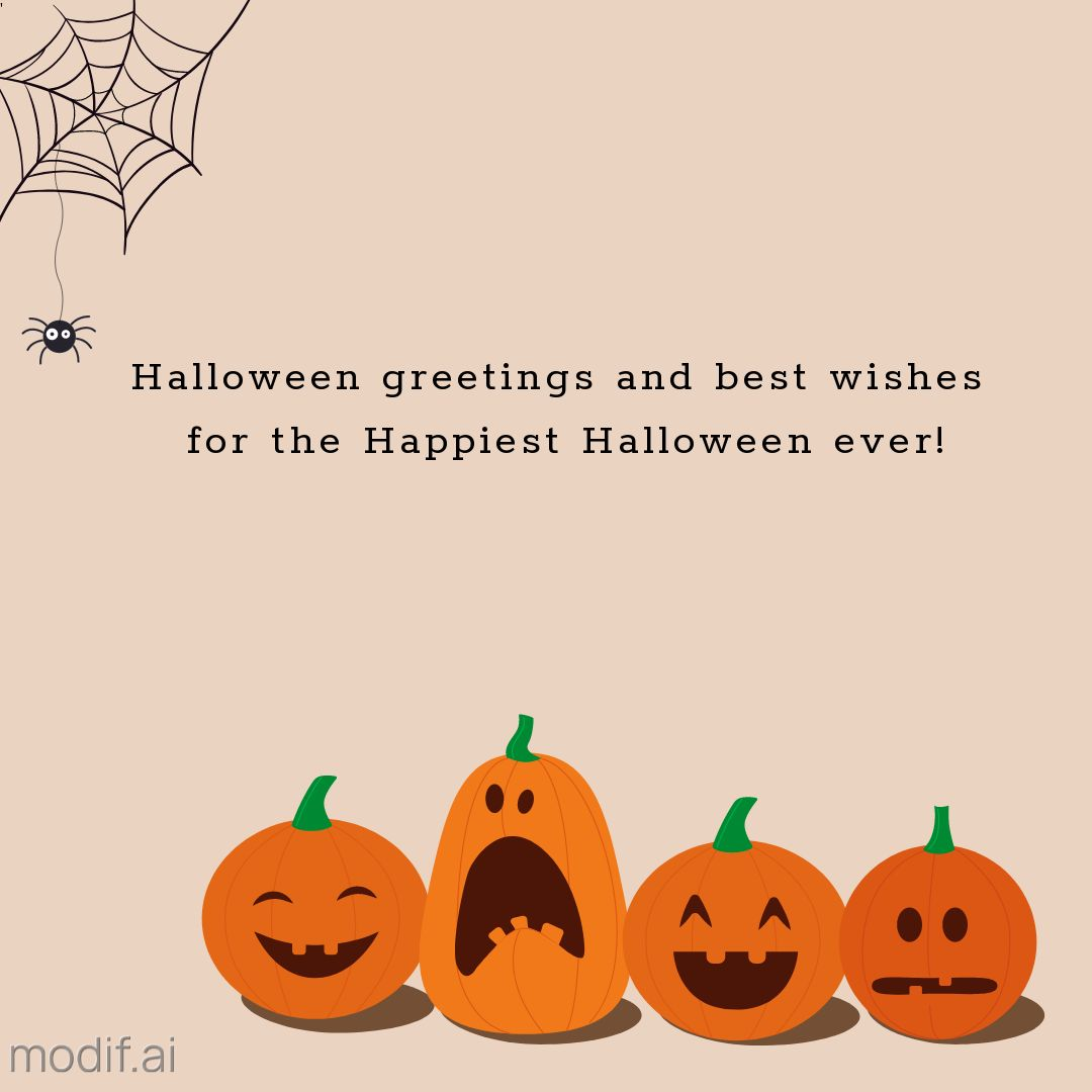 Halloween Greetings Template with Funny Pumpkins