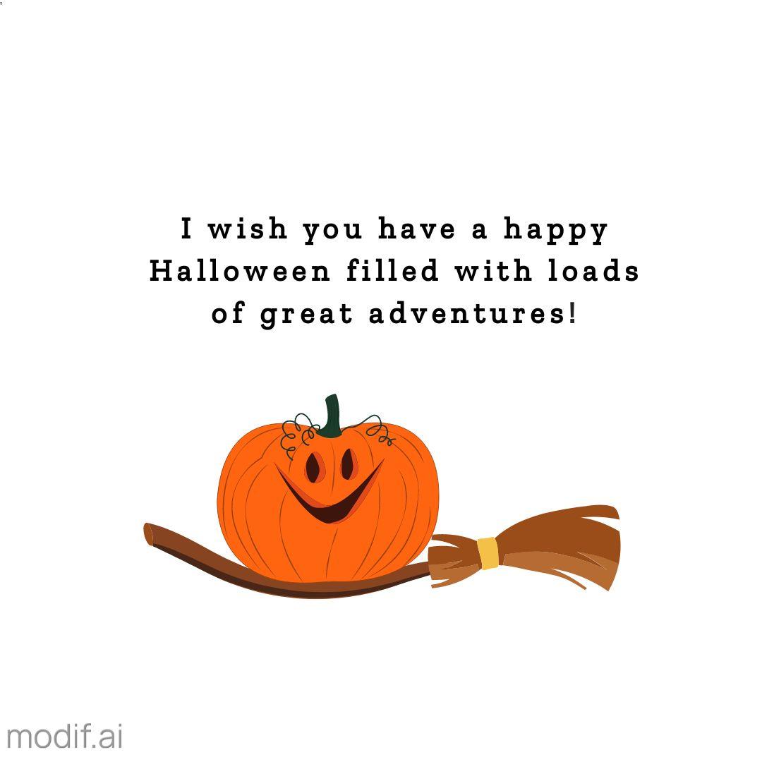 Halloween Template with Pumpkin on Broomstick