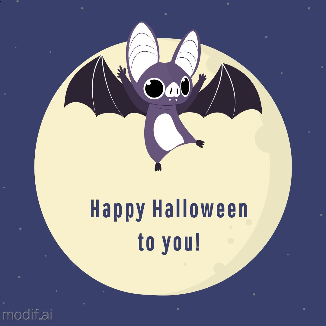 Halloween Greeting Template with Bat and Full Moon