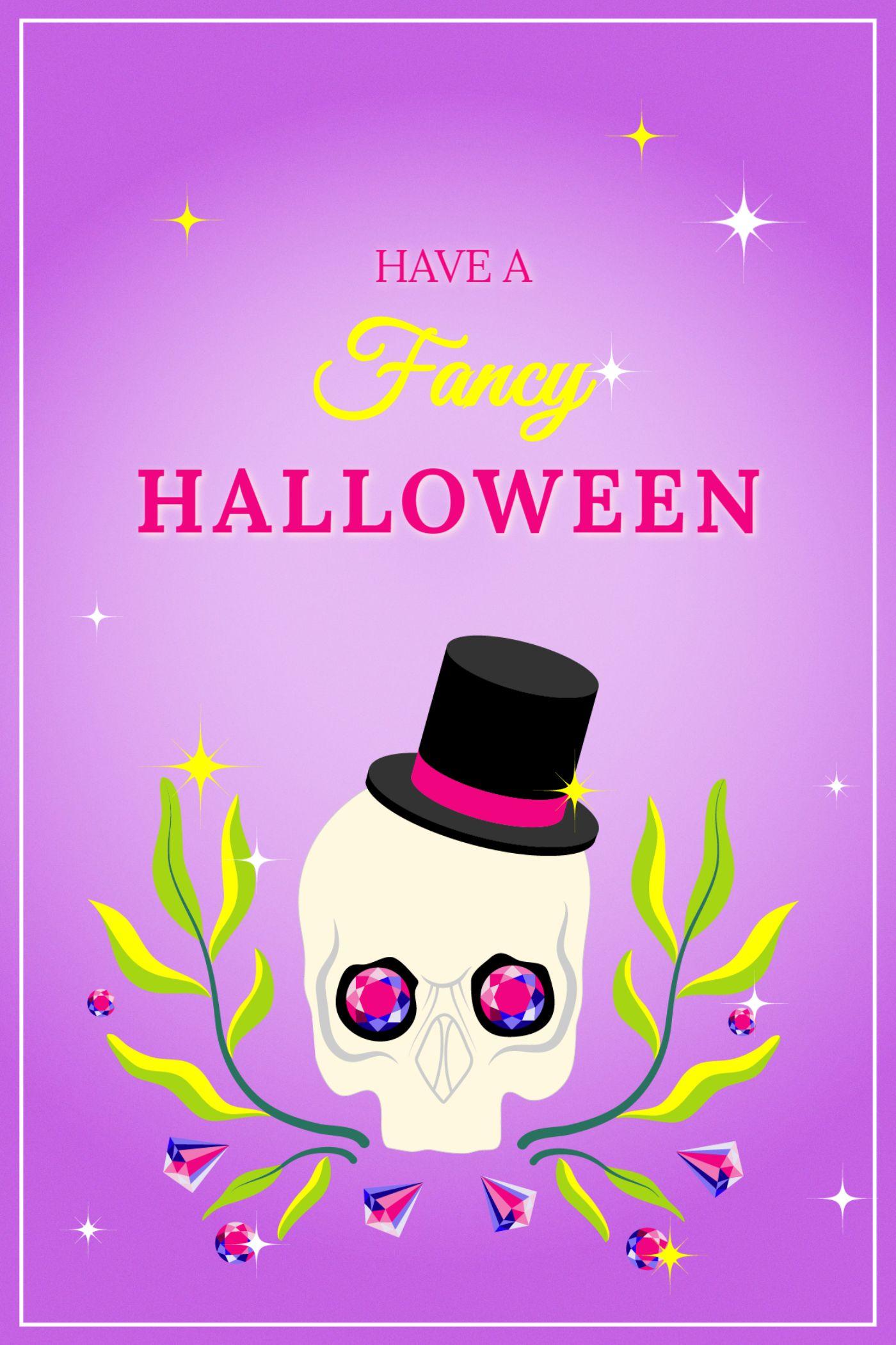Diamond and skull Halloween Greeting Card Template
