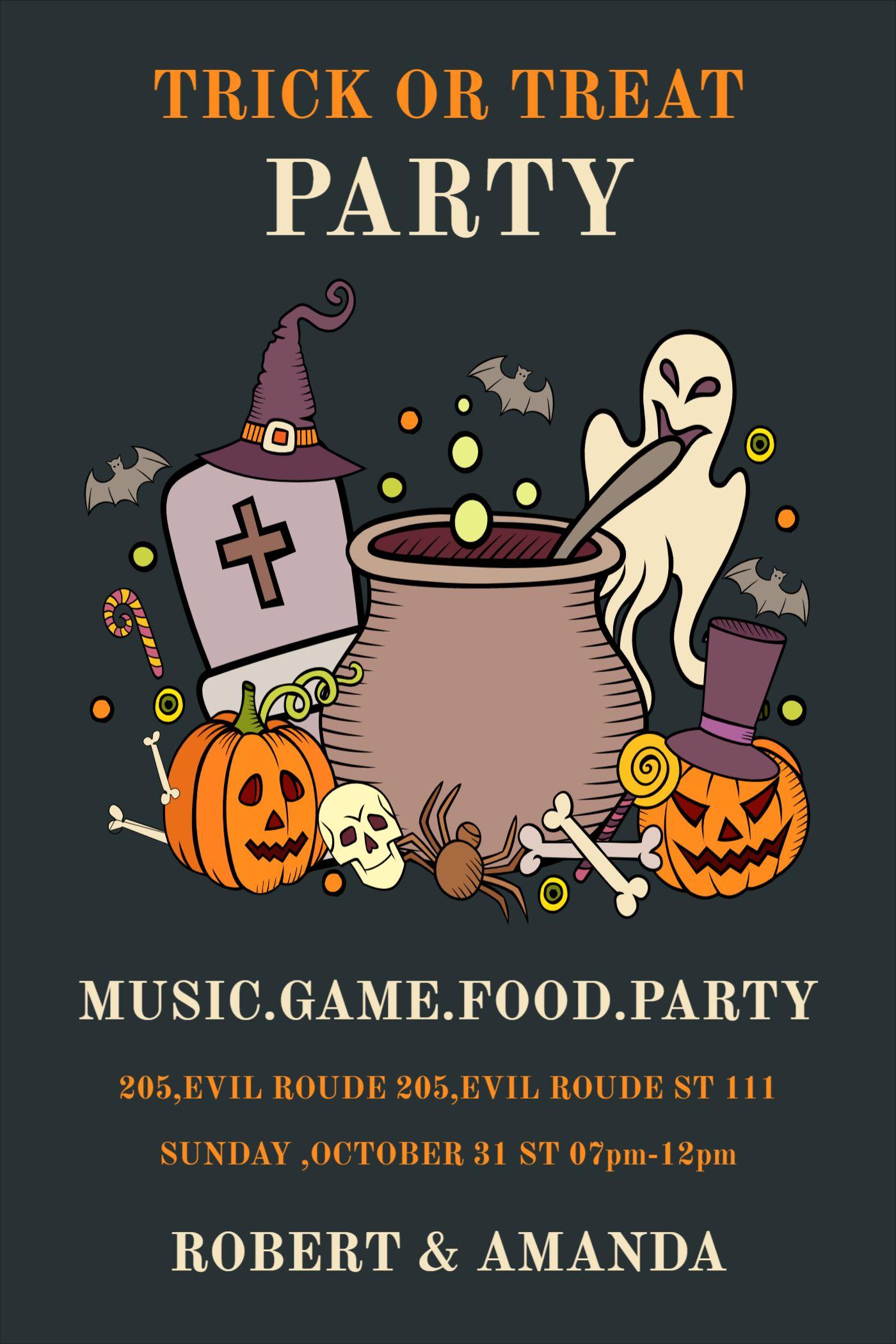 Trick or Treat Party Invitation Design