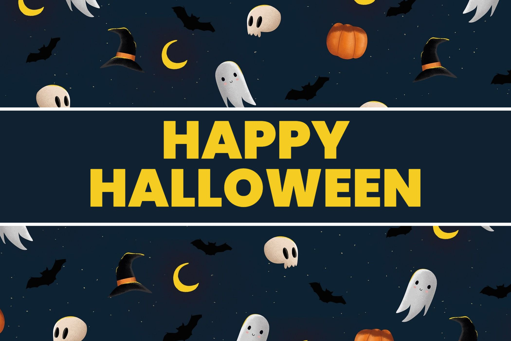 Greeting Card with Ghosts Halloween Template