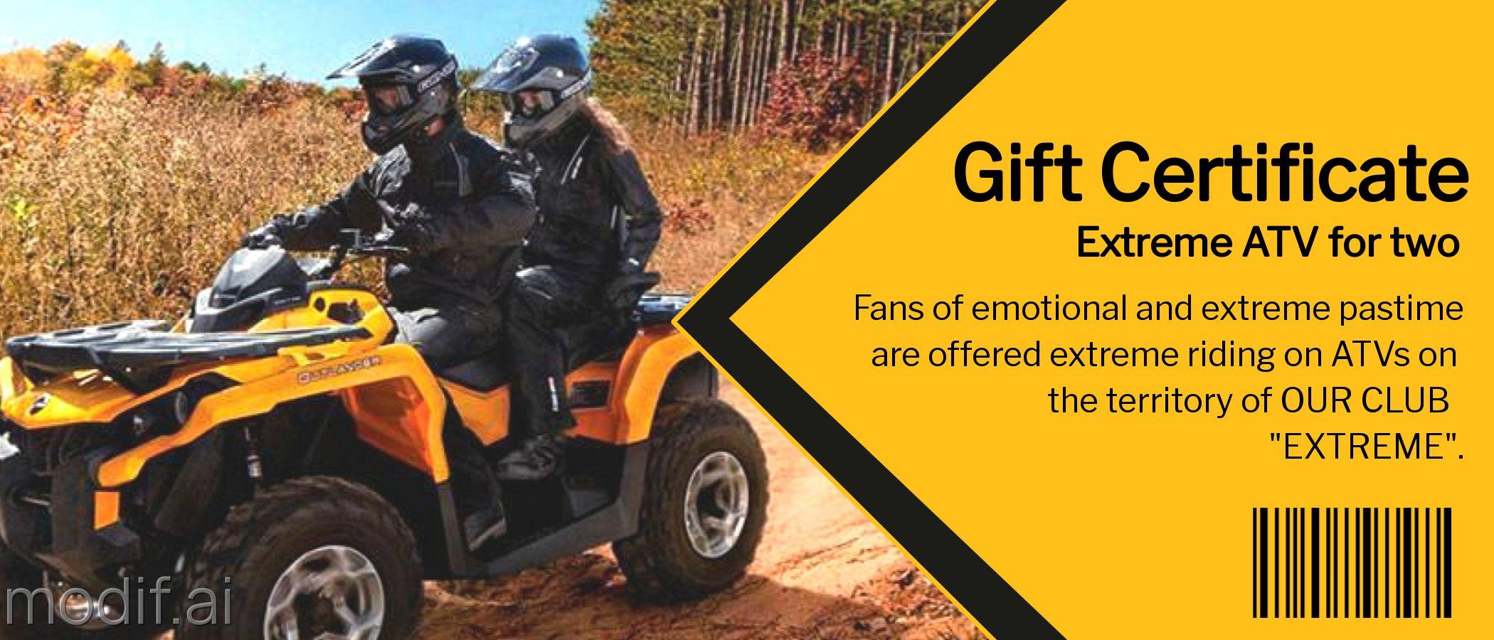 Extreme ATV Gift Certificate Design