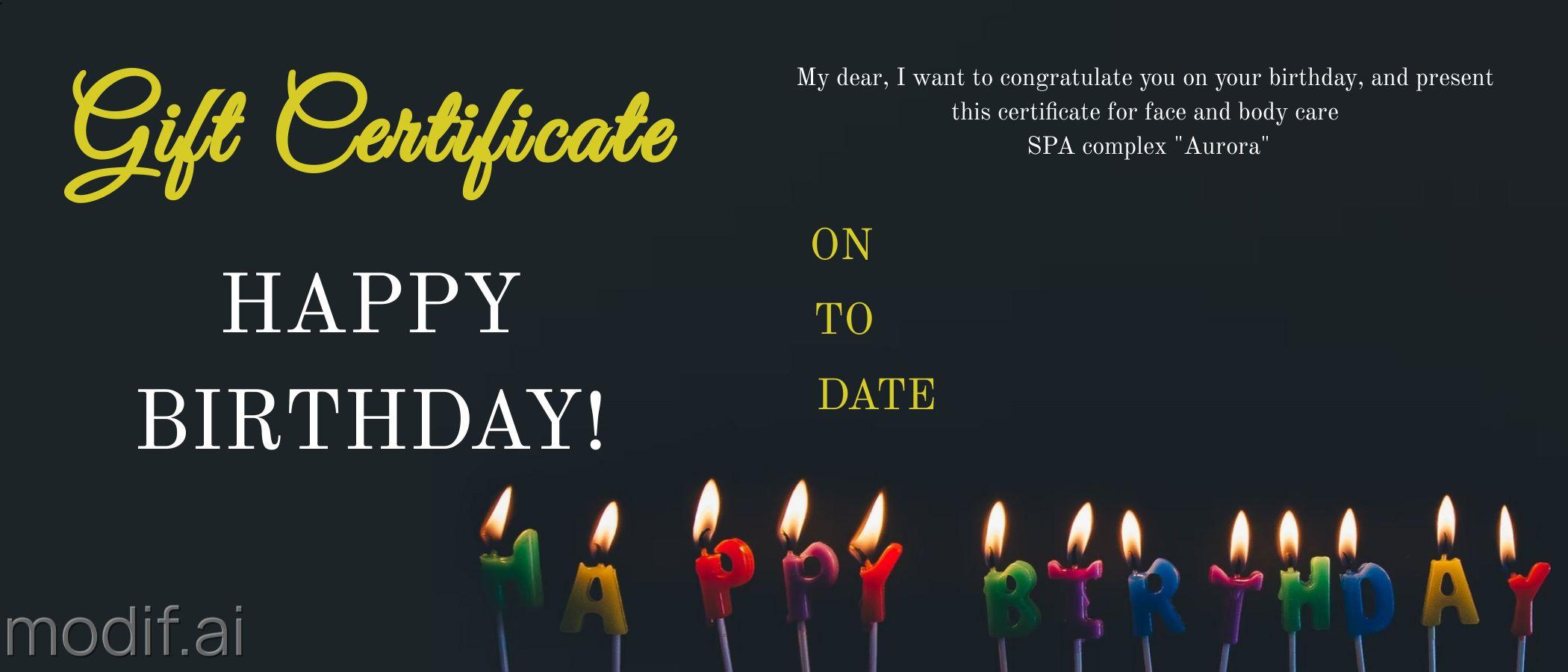 Birthday Gift Certificate Design Template