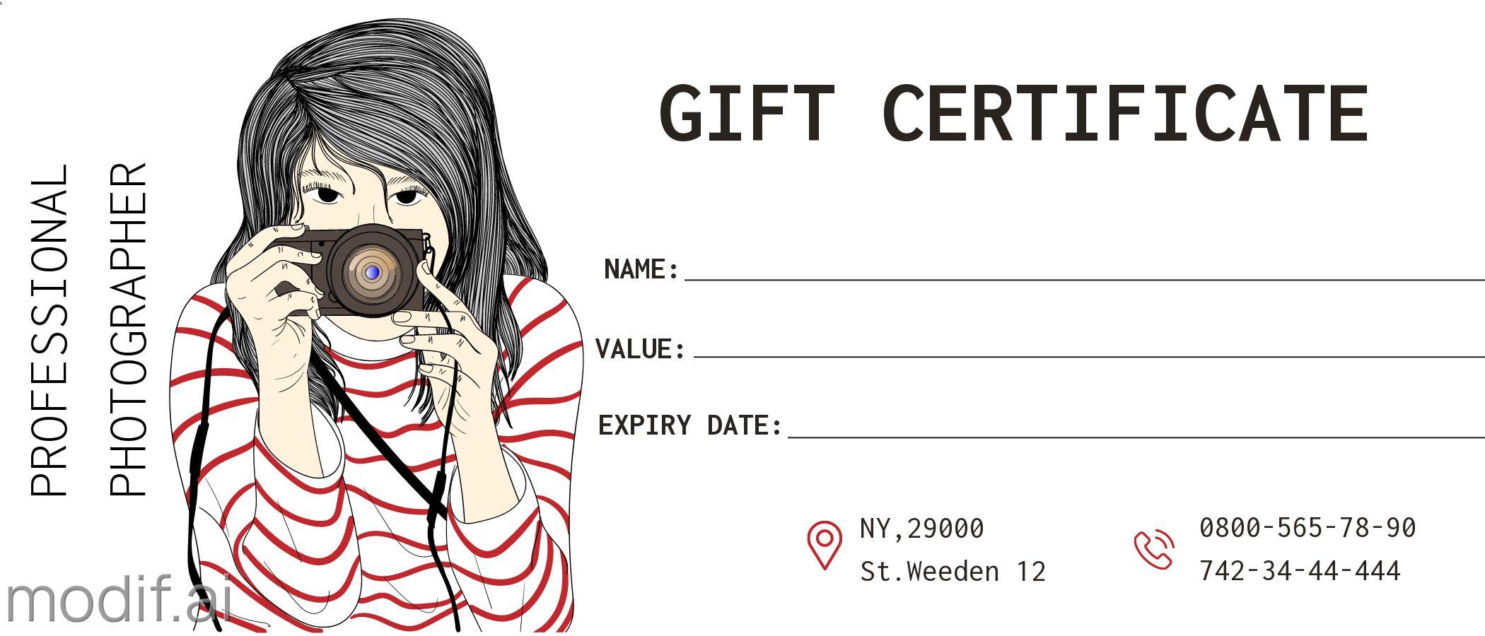 Photographer Gift Certificate Design