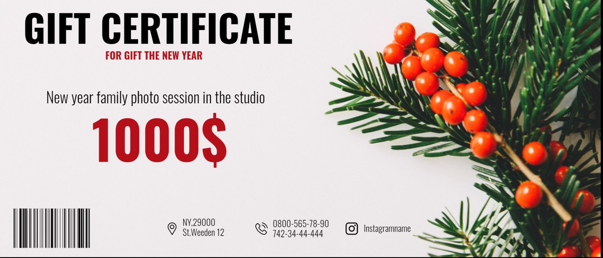New Year Gift Certificate Design Template