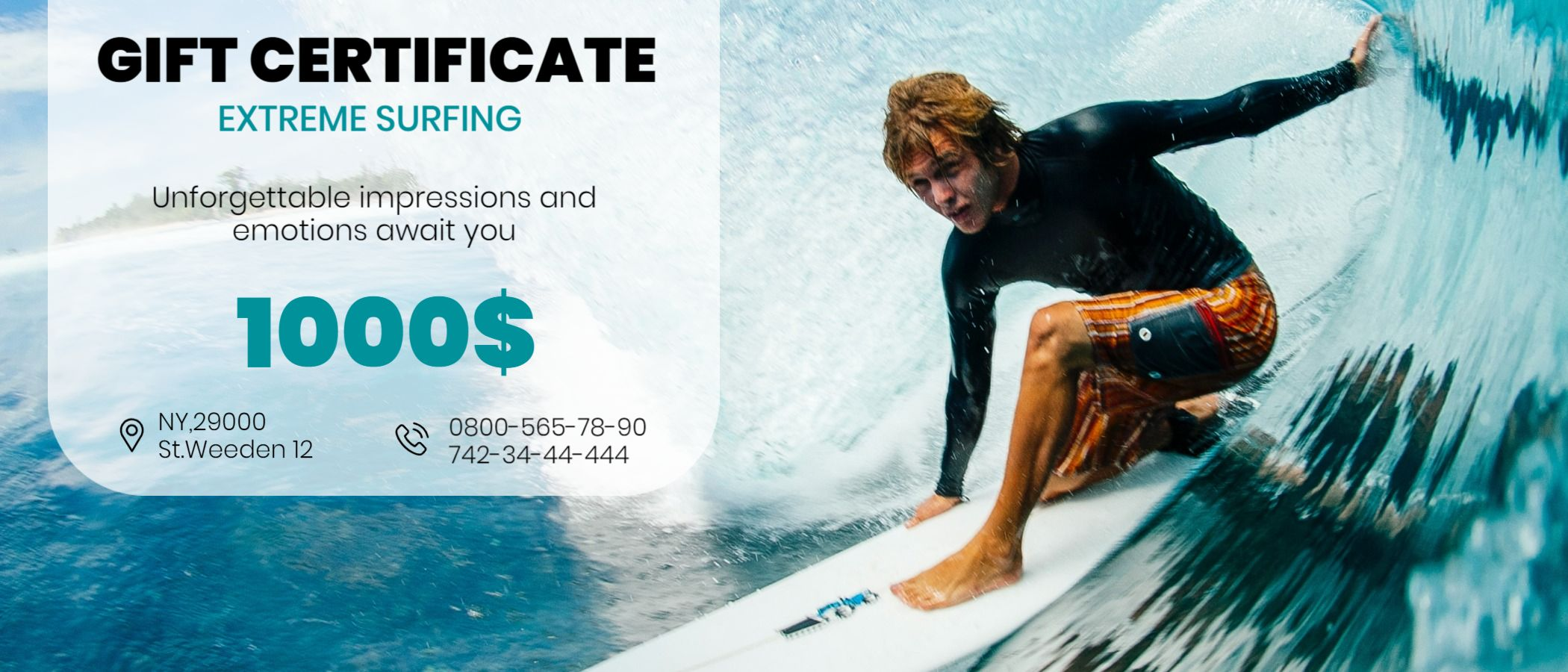 Extreme Surfing Gift Certificate Design