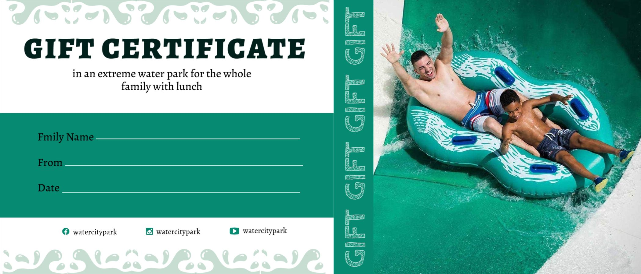 Water Park Gift Certificate Design