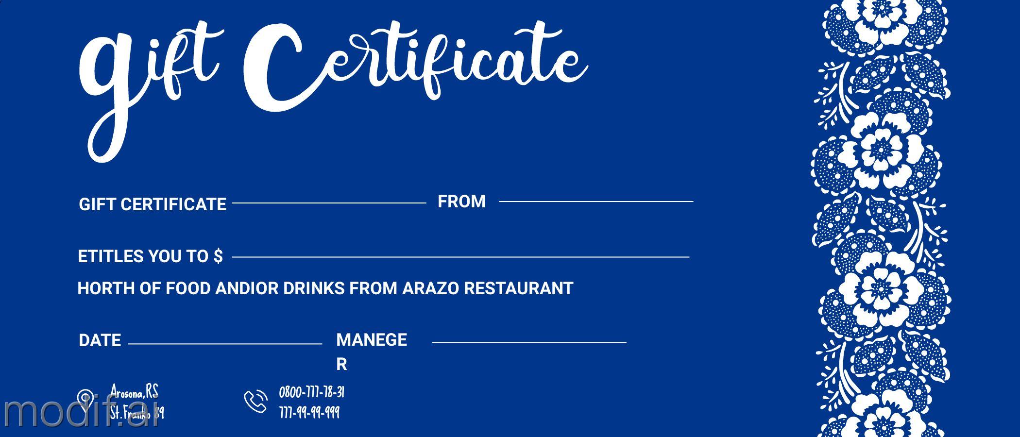 Restaurant Gift Certificate Design
